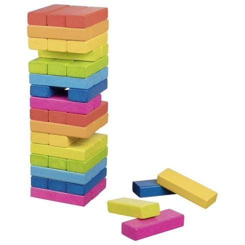 Zábavná hra– Dřevěná věž Jenga duhová, 48dílů - Goki