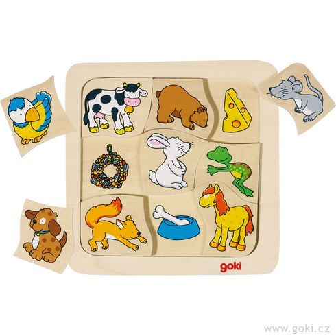 Dřevěné puzzle – Kdocojí? - Goki