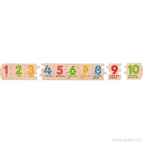 Dřevěné puzzle – Čísla 1– 10,délka 52cm - Goki