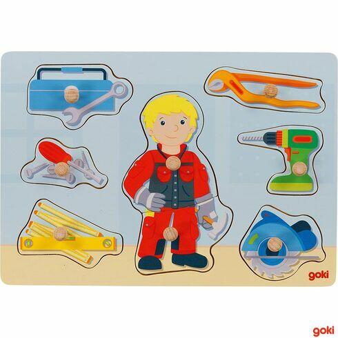 Puzzle sdřevěnými úchytkami –řemeslník, 8dílů - Goki