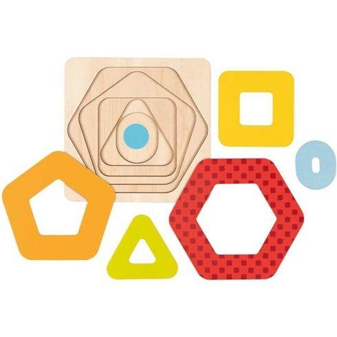 Vícevrstvé puzzle –geometrické tvary, 5dílů - Goki