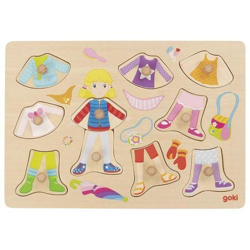 Oblékací puzzle súchytkami – Holka, 10dílů - Goki