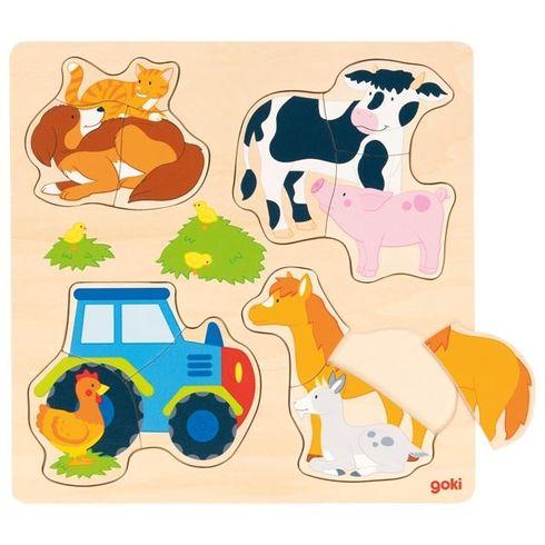 Zvířátka nafarmě – vkládací puzzle, 12dílů - Goki