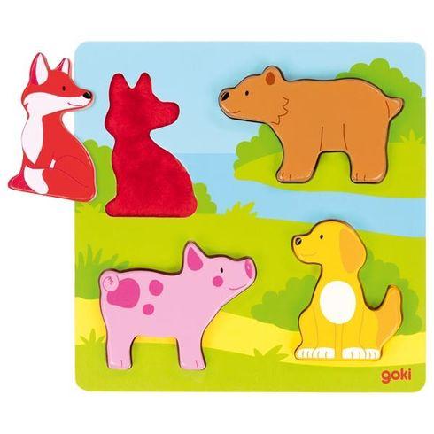 Hmatové puzzle zvířátka, 4díly - Goki