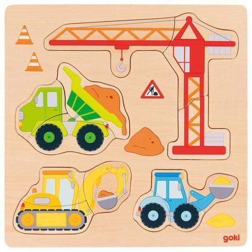 Stavební auta – vkládací puzzle, 12dílů - Goki