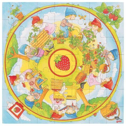 XLpuzzle – Pěstujeme jahody, 49dílů - Goki