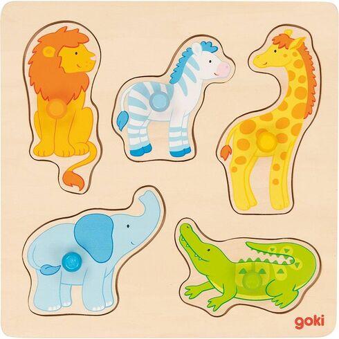 Safari – puzzle súchytkami, 5dílů - Goki