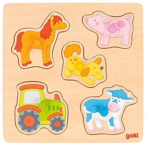 Nafarmě – puzzle súchytkami, 5let - Goki