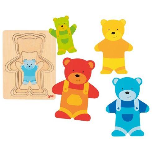 Vícevrstvé puzzle – Medvídek vkalhotách, 5dílů - Goki