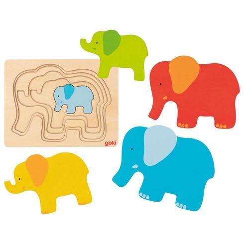 Vícevrstvé puzzle – slon, 5dílů - Goki