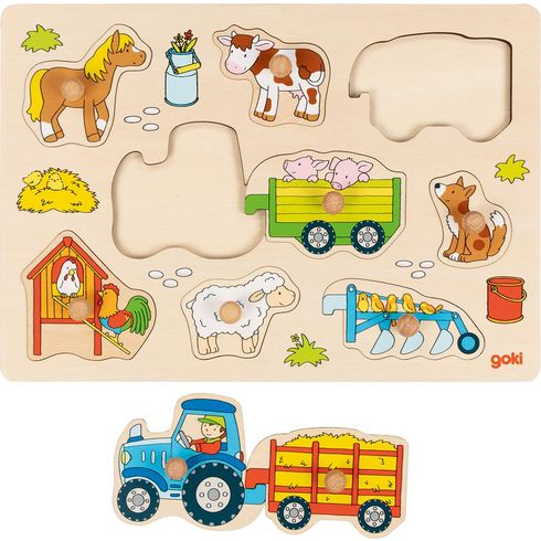 Traktor svlečkou – vkládací puzzle súchytkami, 9dílů - Goki