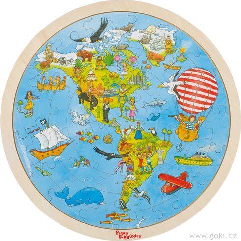 Oboustranné puzzle – Cesta kolem světa, 56dílů - Goki