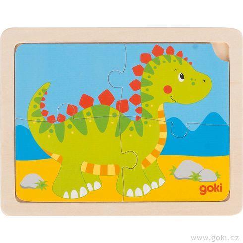 Dřevěné puzzle slůně, dinosaurus ahasiči - Goki