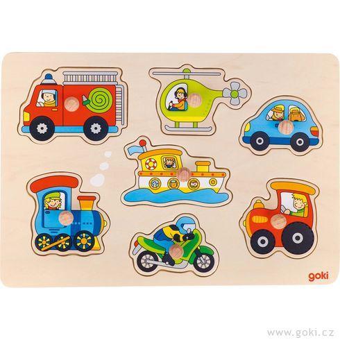 Dřevěné puzzle súchytkami – dopravní prostředky, 7dílů - Goki