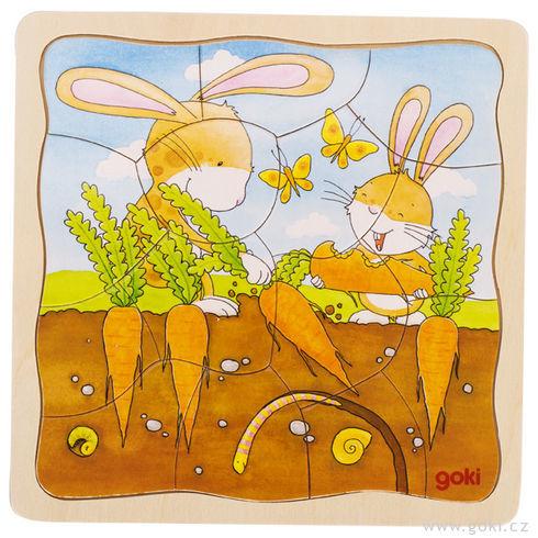 Zeleninový záhonek – vývojové puzzle, 53díly - Goki