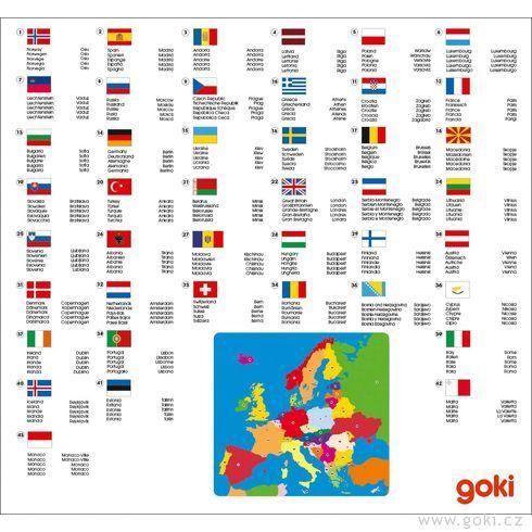 Dřevěné puzzle nadesce – Evropa, 35dílů - Goki
