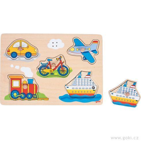 Dřevěné puzzle sezvukem – dopravní prostředky, 5dílů - Goki