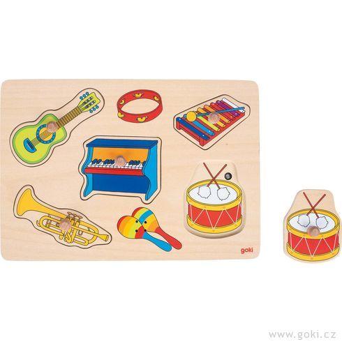 Dřevěné puzzle sezvukem – hudební nástroje, 5dílů - Goki