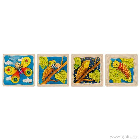 Housenka – vývojové vrstvené puzzle zedřeva, 4vrstvy, 44díly - Goki
