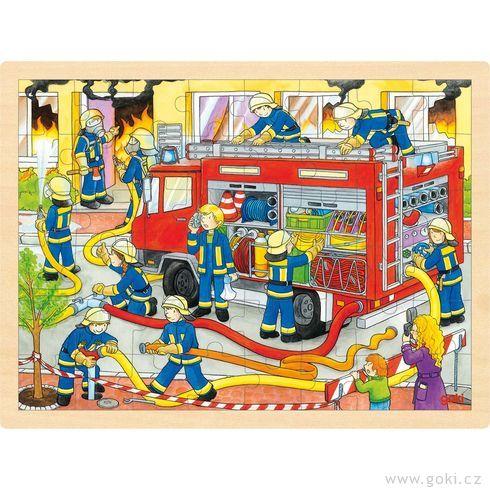 Puzzle – hasiči při zásahu, 48dílů - Goki