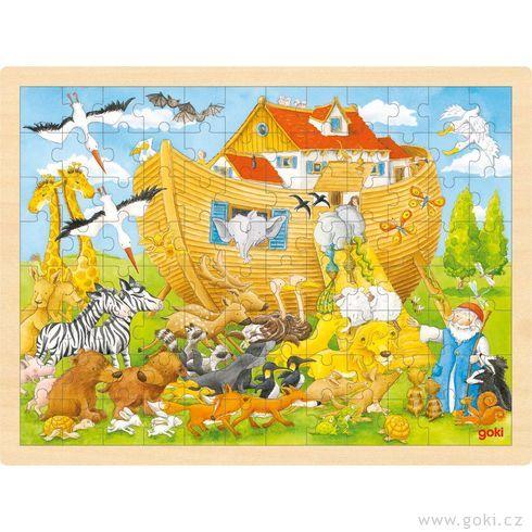 Dřevěné puzzle Noemova archa, 96dílů - Goki