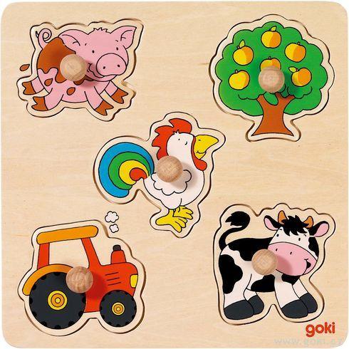 Vkládací dřevěné puzzle – navesnici - Goki