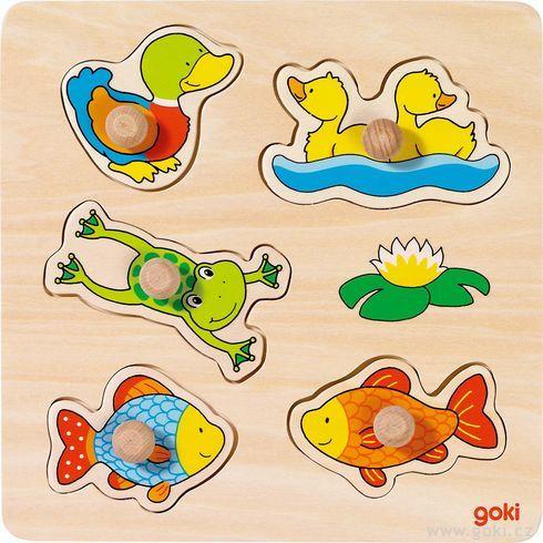 Vkládací dřevěné puzzle – rybník - Goki