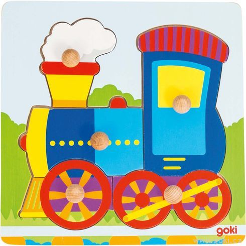 Lokomotiva – puzzle súchytkami - Goki