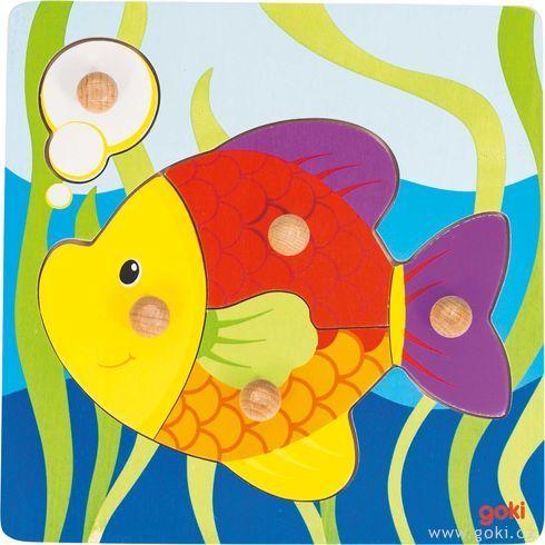 Rybička – puzzle súchytkami - Goki