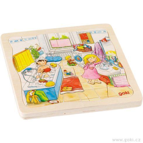 Můj den– vrstvené puzzle zedřeva, 4vrstvy, 46dílů - Goki