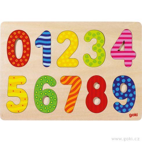 Číslice 0– 9– vkládací puzzle zedřeva - Goki