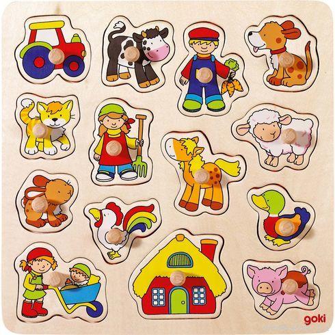 Kohoutek, prasátko …vkládací dřevěné puzzle - Goki