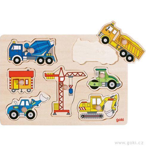 Stavební auta – dřevěné puzzle pronejmenší - Goki