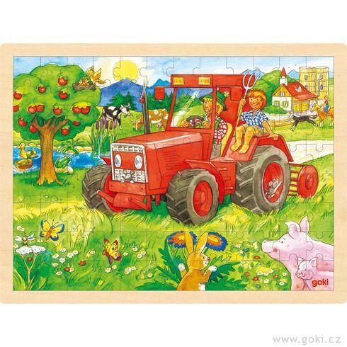 Puzzle nadesce – Červený traktor, 96dílů - Goki