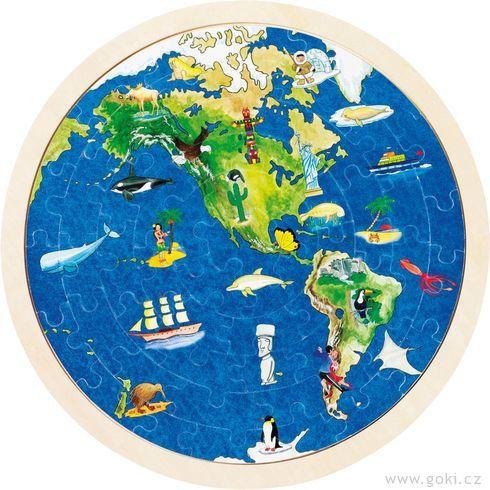 Oboustranné puzzle – Zeměkoule, 57dílů - Goki
