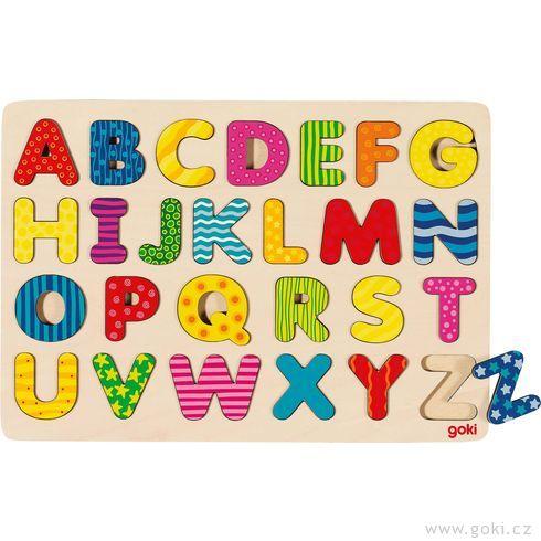 Dřevěné puzzle nadesce – Abeceda II,26dílů - Goki