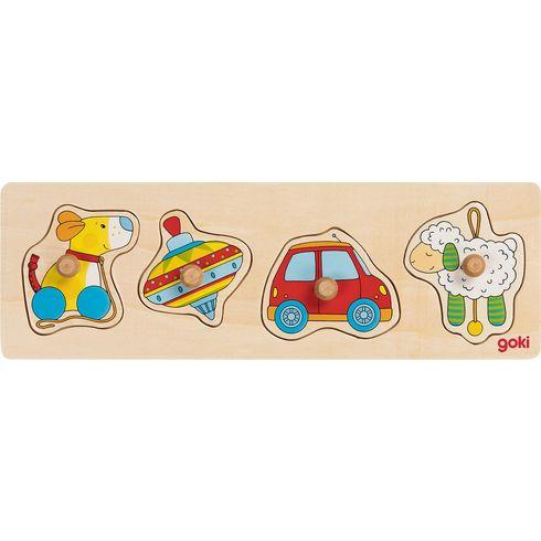 Puzzle sdřevěnými úchytkami – Hračky, 4díly - Goki