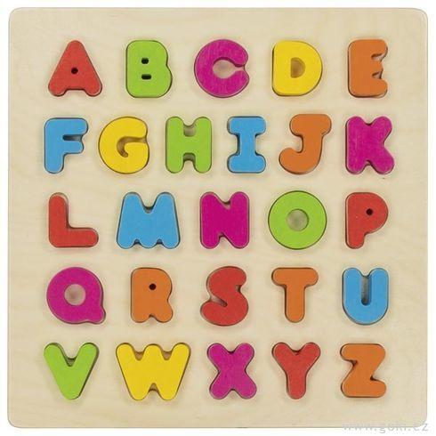 Dřevěné vkládací puzzle – abeceda, 26dílů - Goki