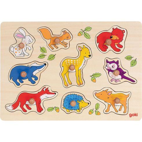 Dřevěné puzzle súchytkami – Lesní zvířátka, 9dílů - Goki