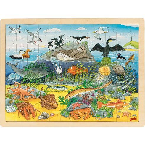 Vevodě anadvodou – dřevěné puzzle, 96dílů - Goki