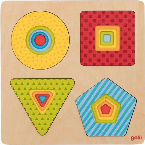 Vícevrstvé puzzle – geometrické tvary, 16dílů - Goki