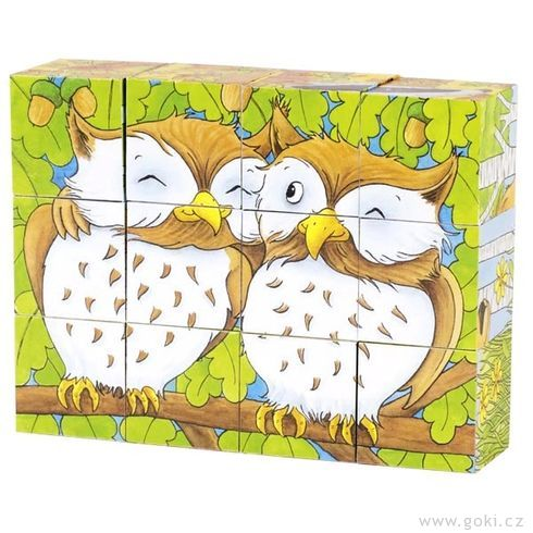 Kostky sobrázkem – Lesní zvířátka, 12dílů - Goki