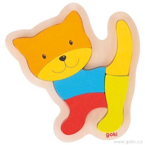 Dřevěné puzzle kočička, 5dílů - Goki