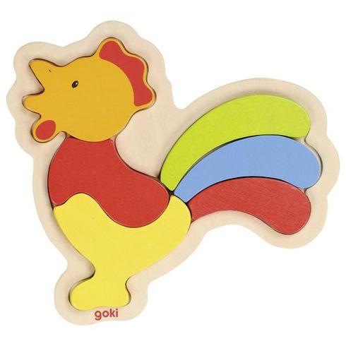Dřevěné puzzle vrámečkuk – Kohoutek - Goki