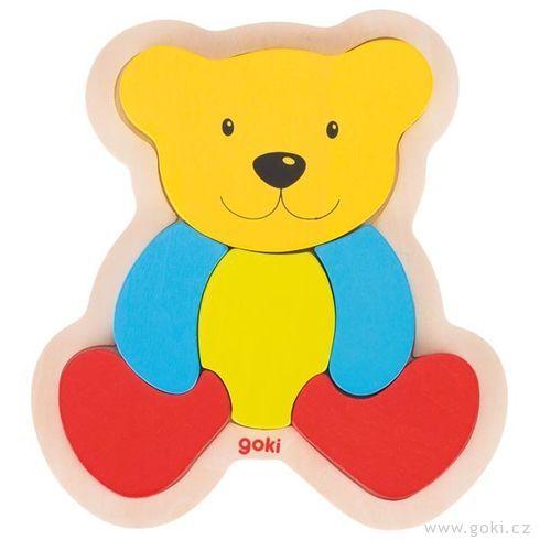 Dřevěné puzzle medvídek, 6dílů - Goki