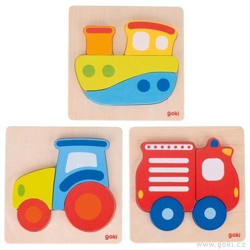 Vkládací dřevěné puzzle se4díly  – loď, traktor, hasiči - Goki
