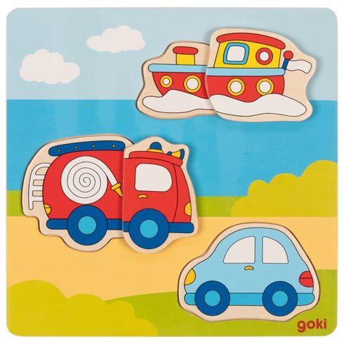 Dopravní autíčka – 3Dpuzzle pronejmenší, 5dílů - Goki