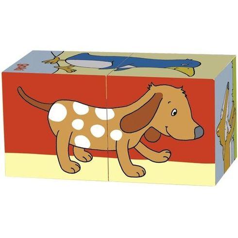 Kostkové puzzle zvířátka, 2díly - Goki