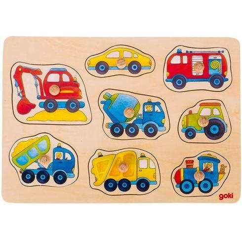 Autíčka – dřevěné puzzle súchytkami, 8dílů - Goki