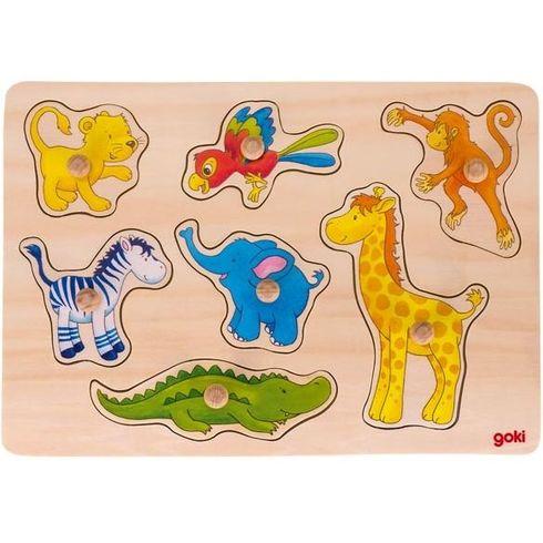 Dřevěné puzzle súchytkami – Safari, 7dílů - Goki